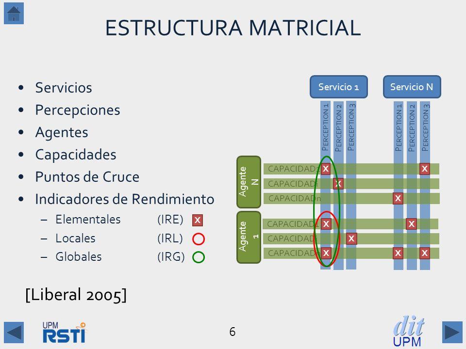 ESTRUCTURA MATRICIAL [Liberal 2005] Servicios Percepciones Agentes